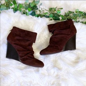 Kenneth Cole Brown Suede Wedge Ankle Boots